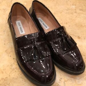 Maroon patent leather loafers